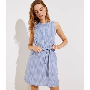 LOFT Dresses - LOFT Striped Tie Waist Henley Dress pcl